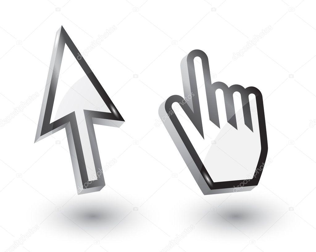 punteros del mouse flecha y mano, 3d u2014 Vector stock u00a9 tkemot ...