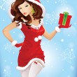 Stock Vector: Santgirl
