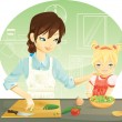 cooking family — Vector de stock