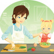 Stock Vector: Family cooking
