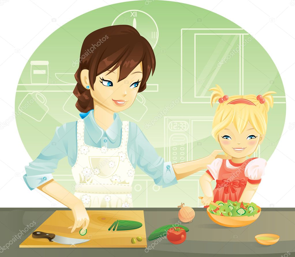 Mother and her daughter cooking — Stock Vector #7756807