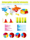Colored Infographics with maps and charts — Stock Vector