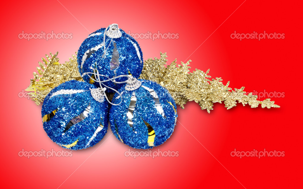 Christmas concept with baubles on red  Stock Photo #7203033