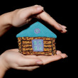 Painted house in hands — Stock Photo #7909836