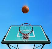 Basketball hoop and ball — Stock Photo