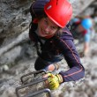 Via ferrata climbing - Stock Photo