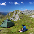 Camping in the mountains — Stock Photo