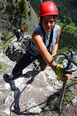 Via ferrata climbing — Stock Photo