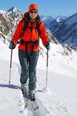 Ski touring in high mountains — Foto de Stock