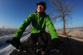 Happy bike riding — Stock Photo