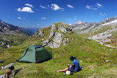Camping in the mountains — Foto de Stock