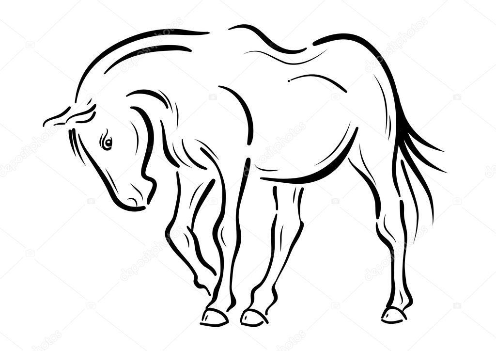 Horse on the white background — Stock Vector #6932067