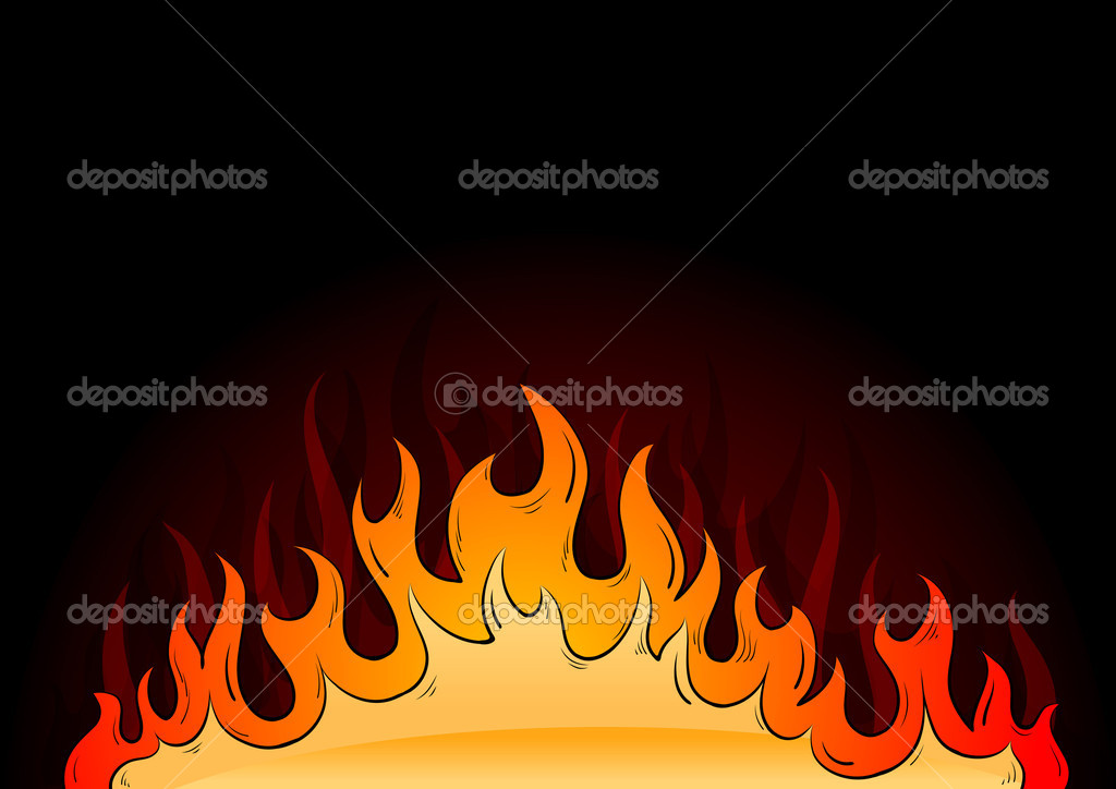 Hot flames on the dark background  Stock Vector #7659946