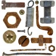 Old rusty screw head nail hook spring — Stock Photo #7019916