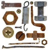 Old rusty screw head nail hook spring — Stock Photo