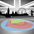 Stock Vector: Stadium with London skyline - vector