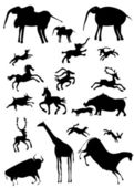 African animals looks like cave painting - vector — Stock Vector