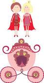 принцесса, принц и перевозки — Cтоковый вектор