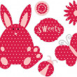Dotted cute bunny and red dotted elements — Stock Vector