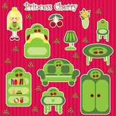 Princess Cherry furniture set — Vector de stock