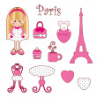 Cute pink girlish set. Paris — Image vectorielle