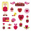 Girlish set Valentine's Day — ストックベクタ