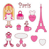Cute pink girlish set. Paris — Stock Vector