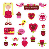 Girlish set Valentine's Day — Stock Vector