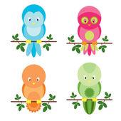 Cute colorful four birds — Stock Vector