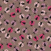 てんとう虫とシームレスな壁紙 — ストックベクタ