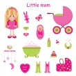 Girlish set. Little mom — Stock Vector