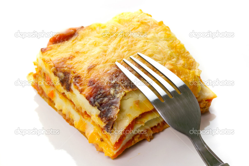 Italian lasagna dish with fork — Stockfoto #6929834