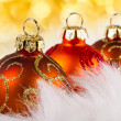 Christmas baubles with abstract lights — Stock Photo
