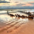 Sunbeam ship wreck on the Rossbeigh beach — Stock Photo