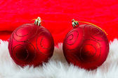 Christmas red baubles — Stock Photo