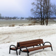 Lonely bench at Wisla river — Stock Photo