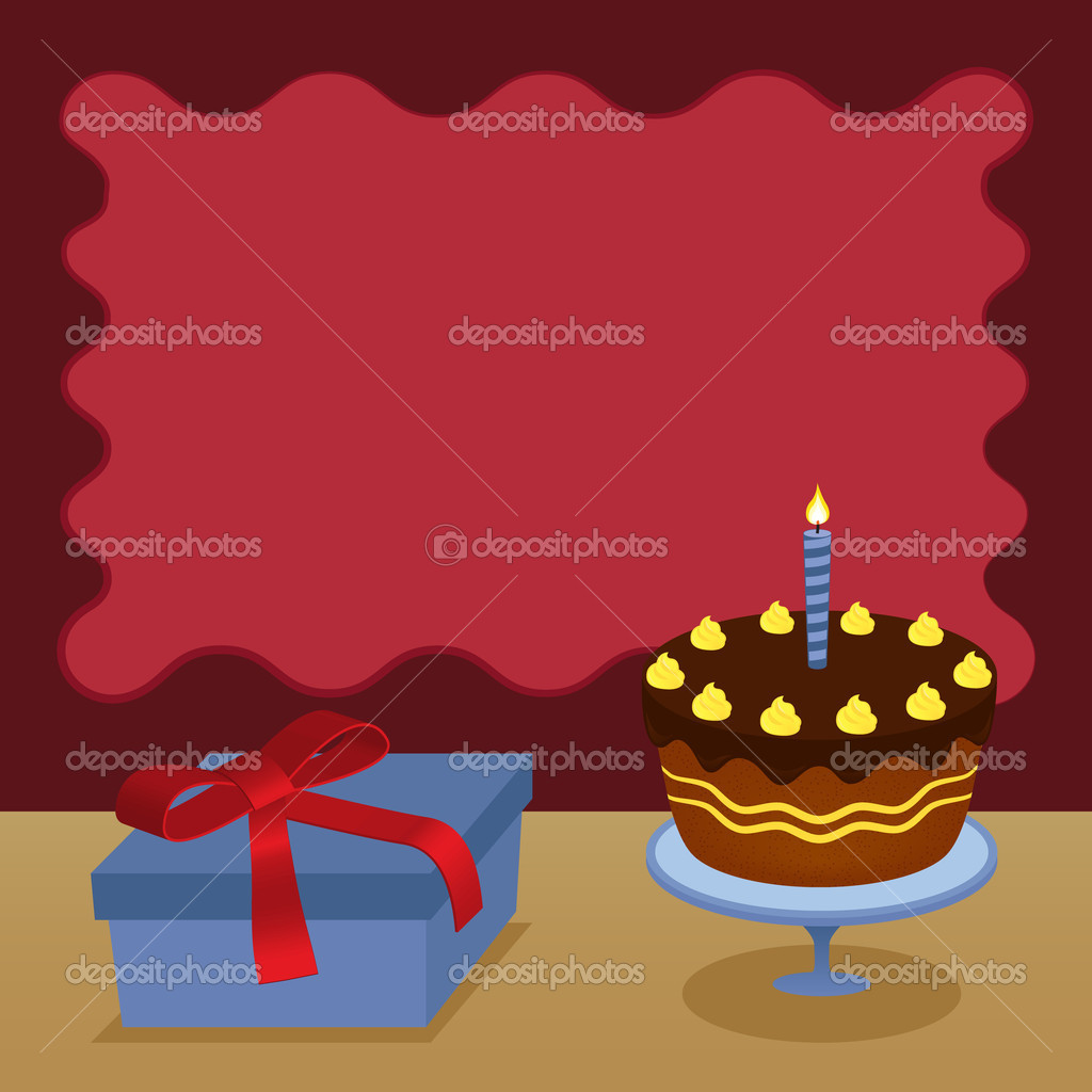 Happy birthday card with a chocolate cake and a present — Stock Vector #7827286