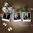 Tea time card - Stock Photo