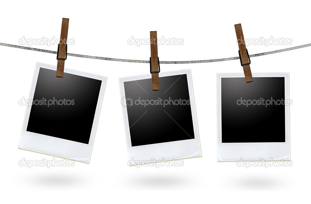 Blank photo frames on a clothesline  — Stock Photo #6827912
