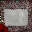 Paper card with roses over Grunge Background — Stock Photo