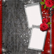 Card for congratulation or invitation with red roses — Stock Photo #7129678