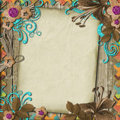 Vintage Background with paper and flowers — Stock Photo