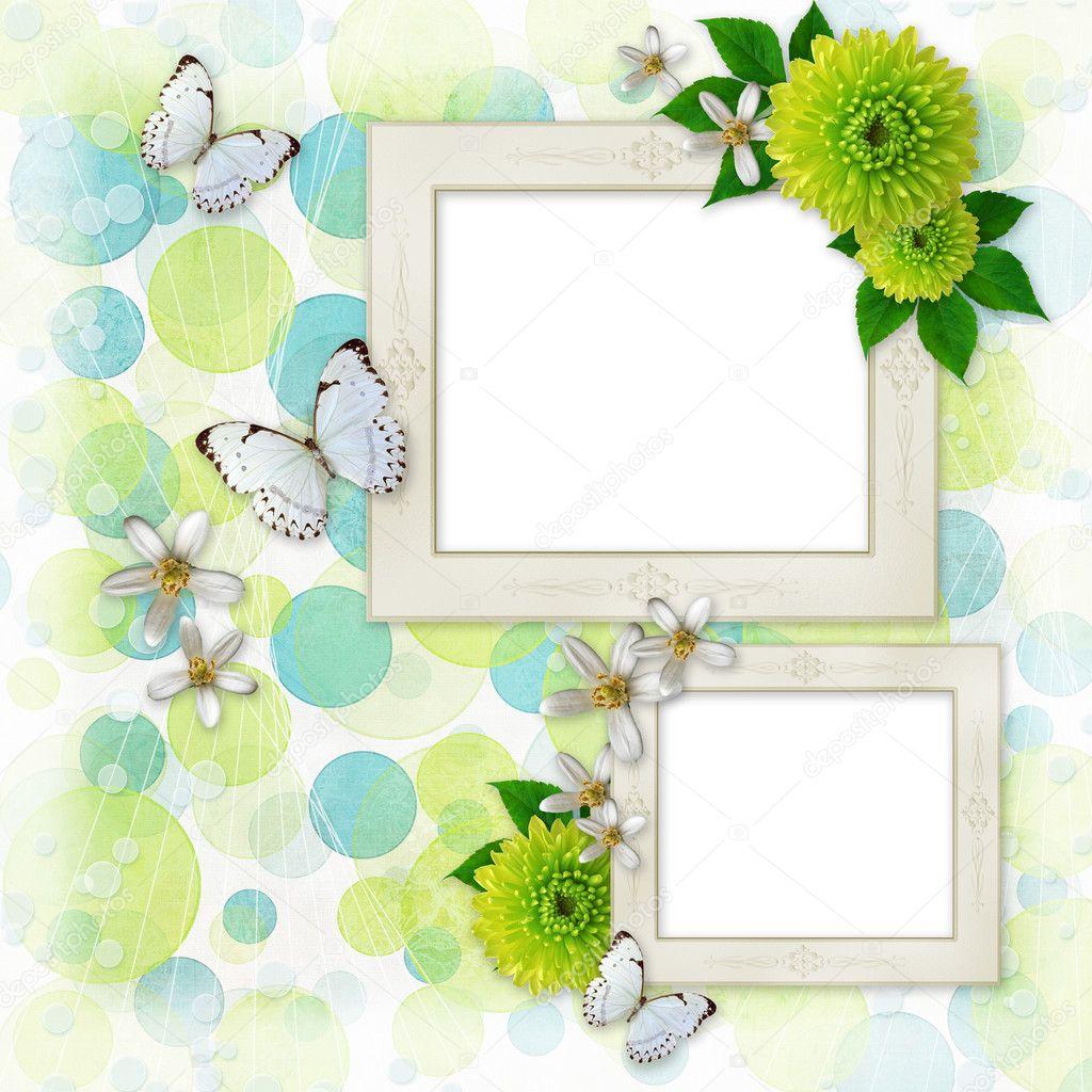 Fondo verde y azul bokeh con marcos decorativos mariposa - Marcos decorativos ...