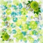 bokeh zielone i niebieskie tło z motyl — Zdjęcie stockowe #7280169