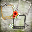 Royalty-Free Stock Photo: Photo frames on the old paper with flowers