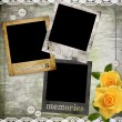 Photo frames on the old paper with yellow roses — Stock Photo