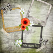 Photo frames on the old paper with flowers — Stock Photo