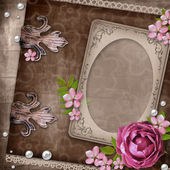 Vintage elegant frame with rose — Stockfoto