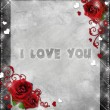 Greeting card with red roses and hearts on the grey background — Foto Stock