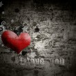 Grunge  background  with the words I love you - Stock Photo